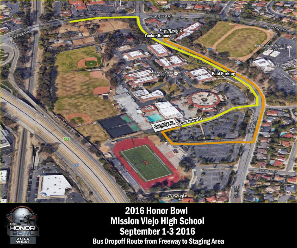 Mission Viejo Bus Drop-off and Staging Site Map